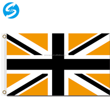 Factory Price Printing 100D Polyester High Quality Customized 3x5 Union Jack Black Gold Flag