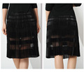 Black color sheer mature women in skirts
