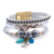 Latest Vintage Handmade Beaded Alloy Leather Bracelet With Diamond Rhinestone
