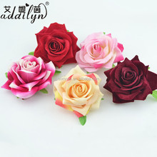DIY Red Silk Roses Flower Artificial Brooch Pins Clip Women A520