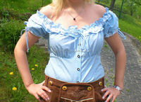 Trachten Oktoberfest Bavarian Traditional Ladies Shirt/Blouse light blue check