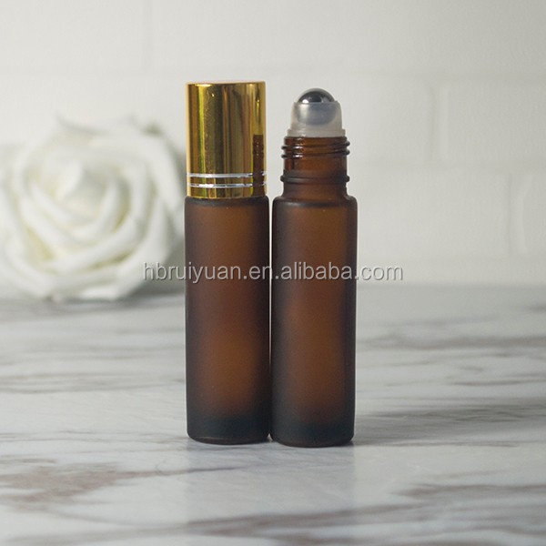 Amber perfume roll on bottles glass refillable deodorant bottle with stainless steel roller metal ball for essential oil 8 10 ml