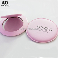 Beautiful Portable Promotional Gifts Fashion Make Up Cosmetic Pu Mirror