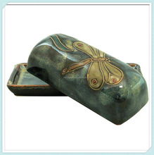 Custom Stoneware Dragonfly Design Butter Dish