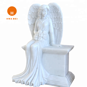 Stone Carved Angel tombstone White Marble Memorials for sale