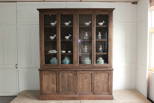 Solid wood design furniture wooden bookcase with glass door models