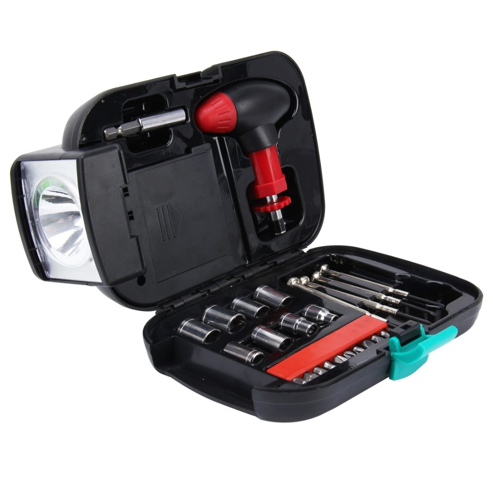 Cheap factory price 24 PCS Portable Flashlight Tool Box Set - Portable Auto, Home, Emergency Tool Kit with Flashlight
