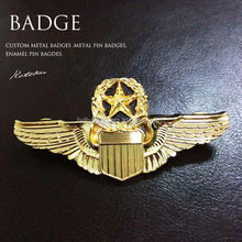 Custom 3D Gold Silver Enamel Military Star Badges/Metal Pin Wing Badge/Club Team Name Badge
