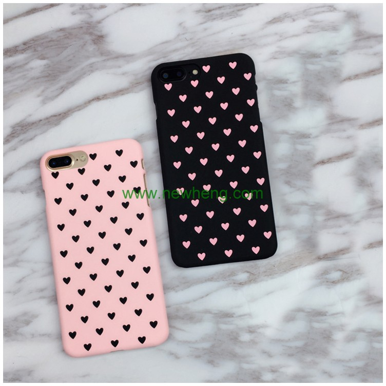 Pink and black polish frosted PC mobile phone case for iphone 7 plus