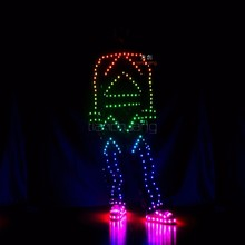 LED stage dance costumes with shoes, LED rainbow costume