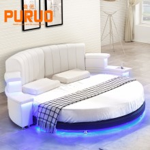 B060# 2017white color round bed LED music bed