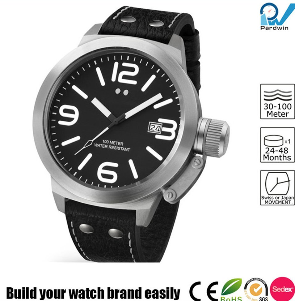 Build your watch brand easily man big case 10ATM water resistant titanium watch