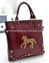 2014 Hot Sale Retro Style Rivet Studded Horse Designer Handbag Tote Bag In Stock Wholesale For Ladies Women Girl
