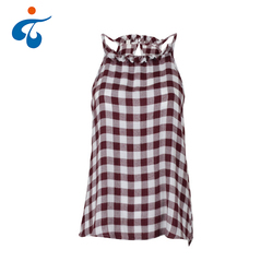 Cheap cute design summer rayon check sleeveless images of ladies casual tops