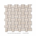 Professional Polished Basket Weave Cream Marfil And White Thassos Mosaic