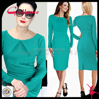 Women office dress, long sleeve dress