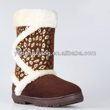 2017 NEW Women's Snow Winter Side Button Up Classic Flat Heel Round Toe Fur Boot Shoe
