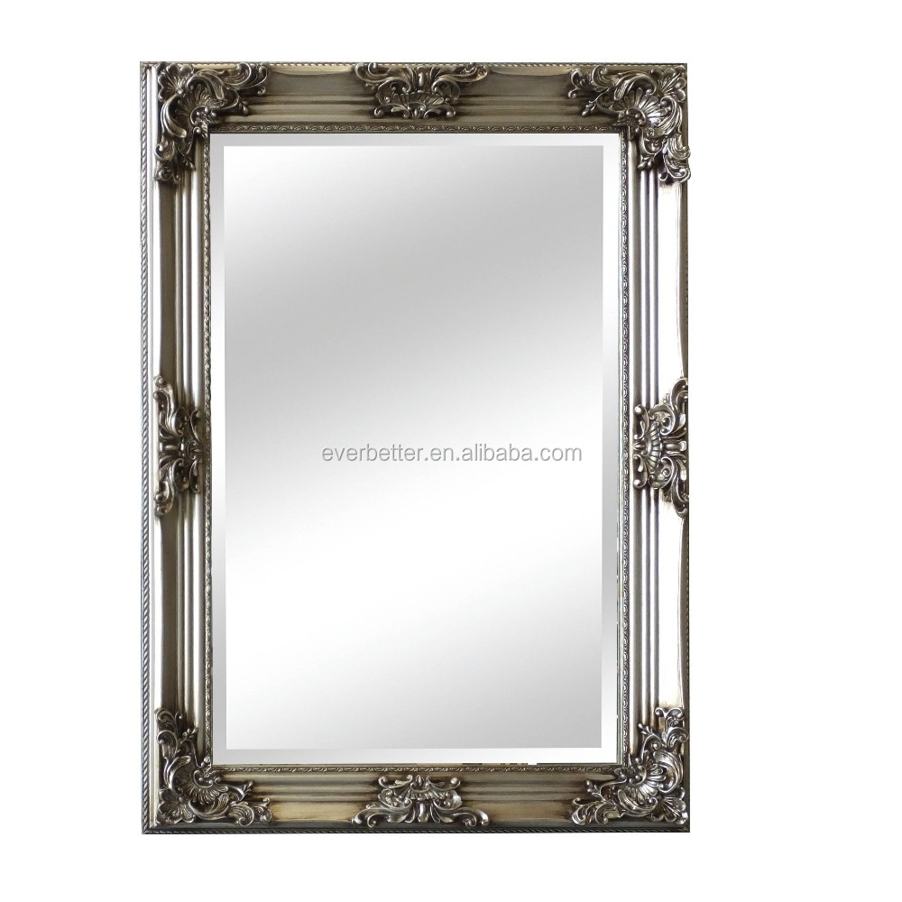 European Style Wood Mirror Frame Handmade with Flower Decorative Large Mirror