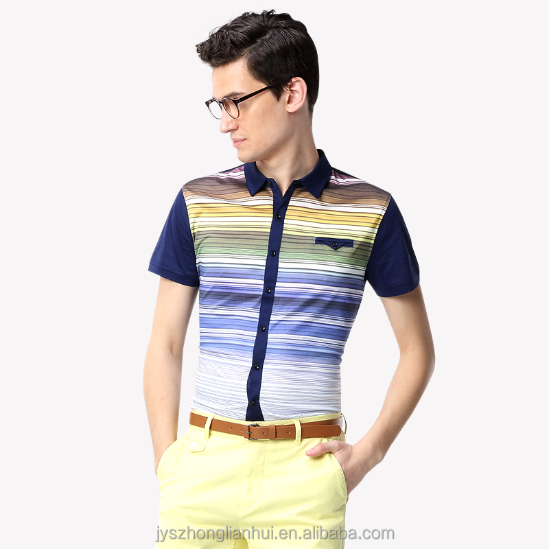 Men's brand mixed color knitted shirts with short sleeve
