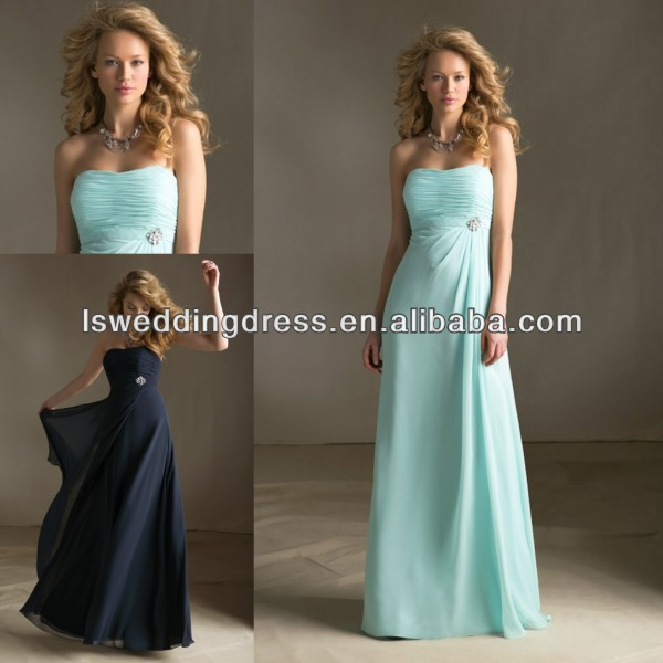 HB2087 Mint strapless sleeveless gathered top with diamond buckle waist A-line long bridesmaid dress full length party dress