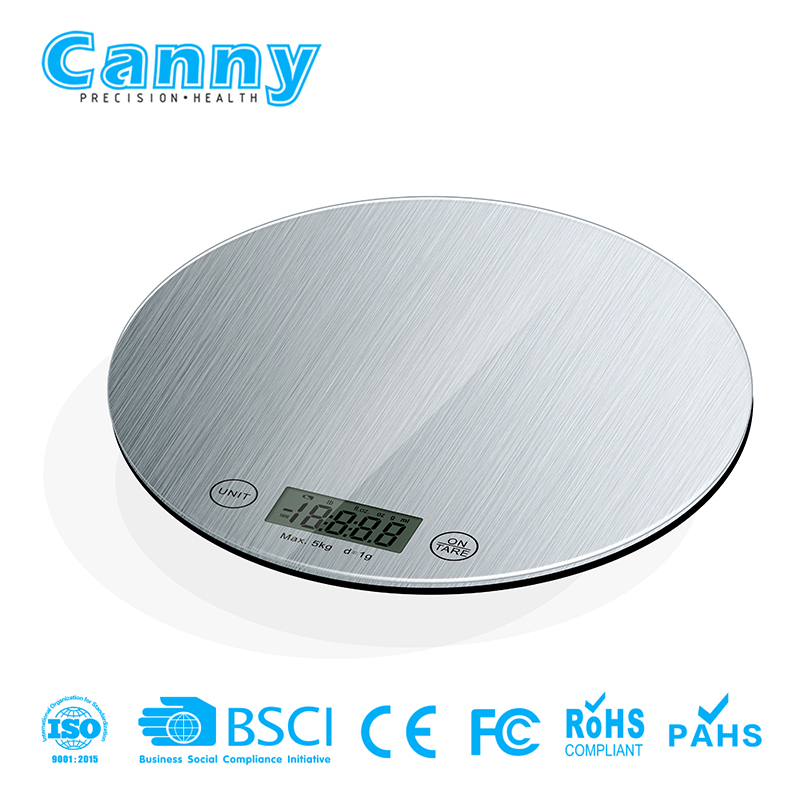 Cheap round digital kitchen scale with 3D new design silk printing pattern
