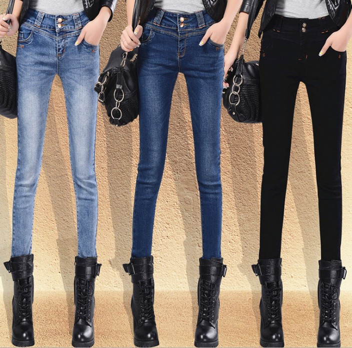 zm21277a elastic jeans ladies pencil pants of new fund of 2016 autumn winter cultivate one's morality joker jean trousers