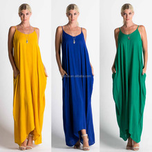 VINTAGE BOHO CLOTHING PLUS SIZE WOMEN 100% RAYON SOLID WOVEN MAXI DRESS WITH CAMISOLE BODICE