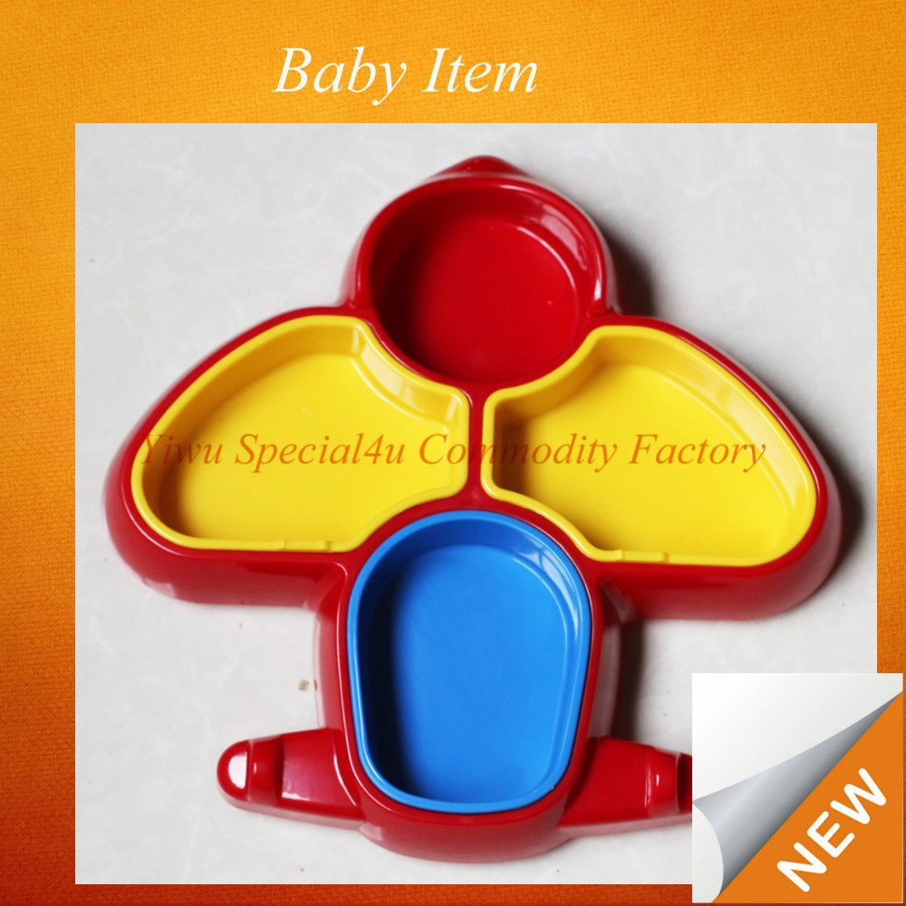 European Fashionable High Quality food grade plane shape plastic baby plate CLBI-037