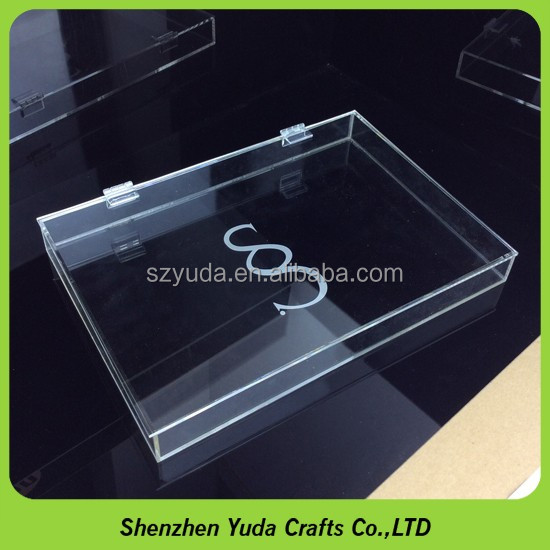 LOGO engraving rectangular box on clear acrylic plexiglass box with hinged lid
