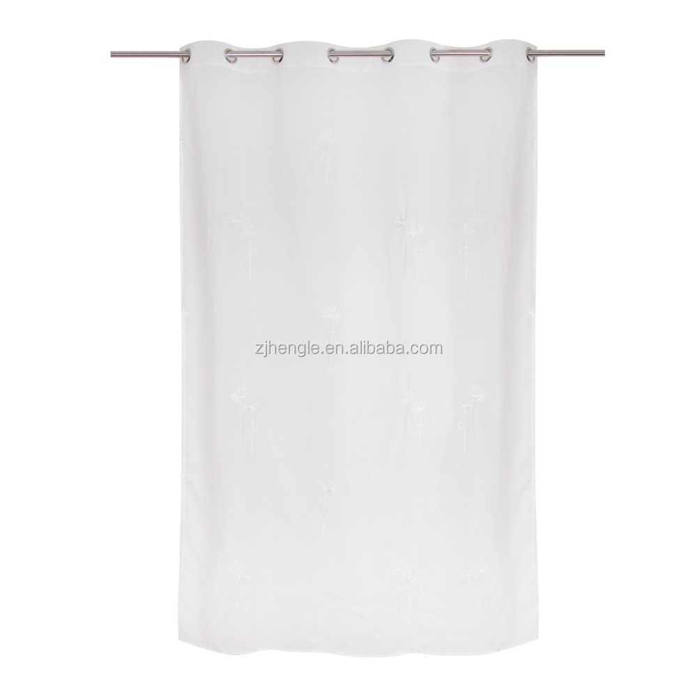 White eyelet embroidered sheer voile curtain for house