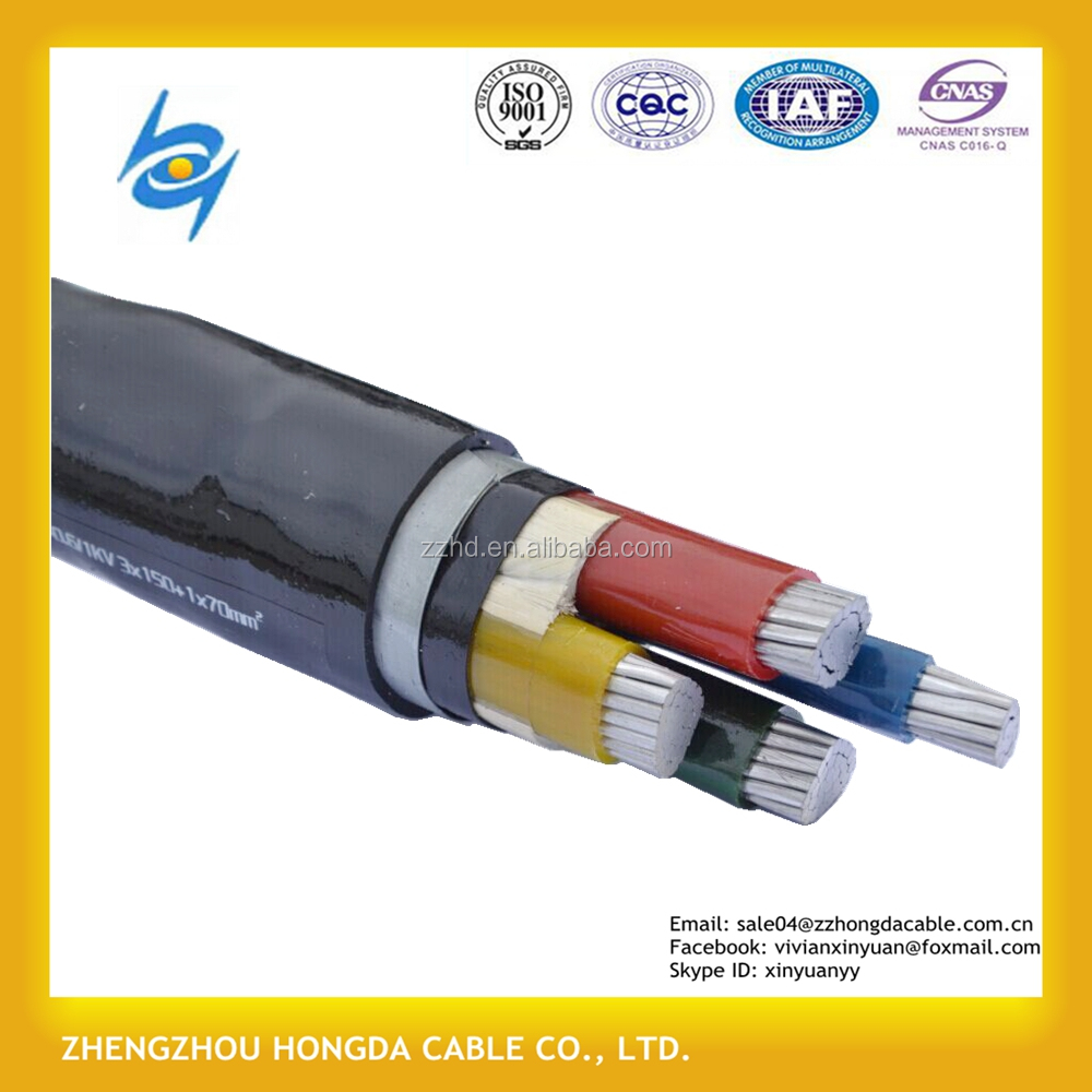 Steel armour cable 0.6/1KV 4*185mm2 CU/XLPE/STA/PVC dsta power cable