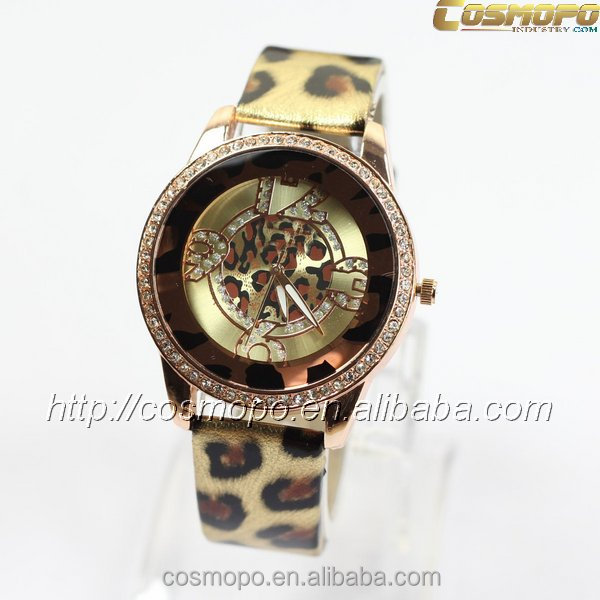 2016 custom quartz watch leopard grain design leather watch for ladies