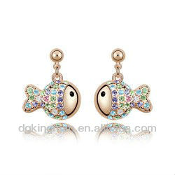Kingman 2013 Colourful Cute Fish Crystal Stud Earrings Costume Non Sensitive For Ears