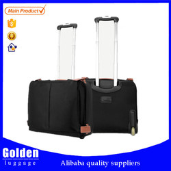 Black nylon boarding luggage, business travel luggage with laptop compartment