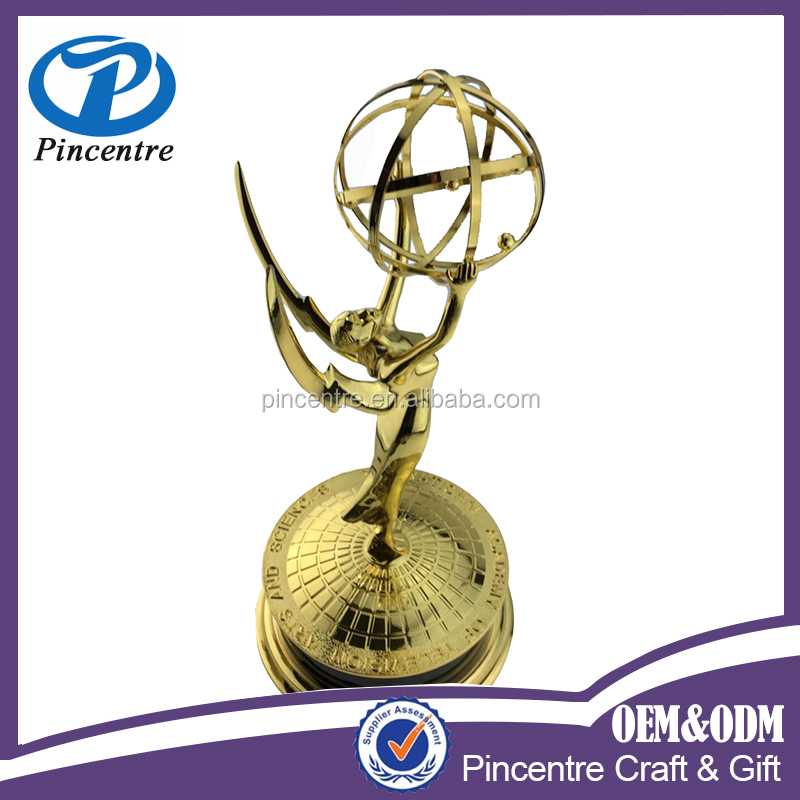 custom <strong>metal</strong> gold plated real size relica emmy award trophy in store /custom made angel trophy