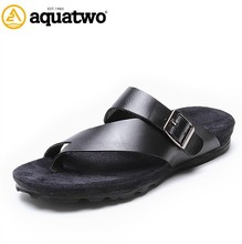 2017 New Arrival Aquatwo Brand Italian Men's Leather Sandals With High Quality