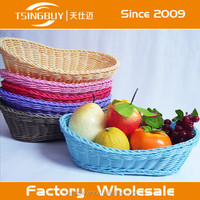 Durable and eco-friendly handwaved PP rattan bread storage basket Plastic fruit basket Polywicker bread display basket with LFGB