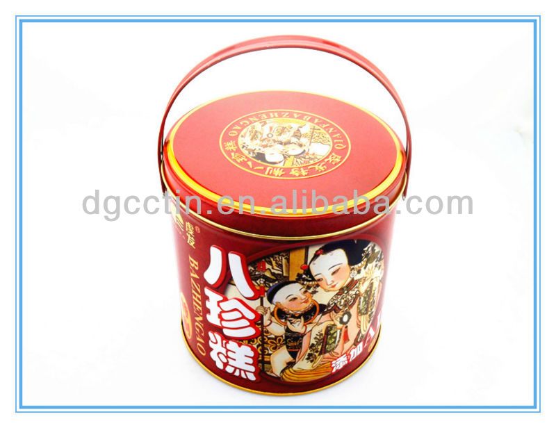 Beautiful food tin container/round tin bucket container with handle