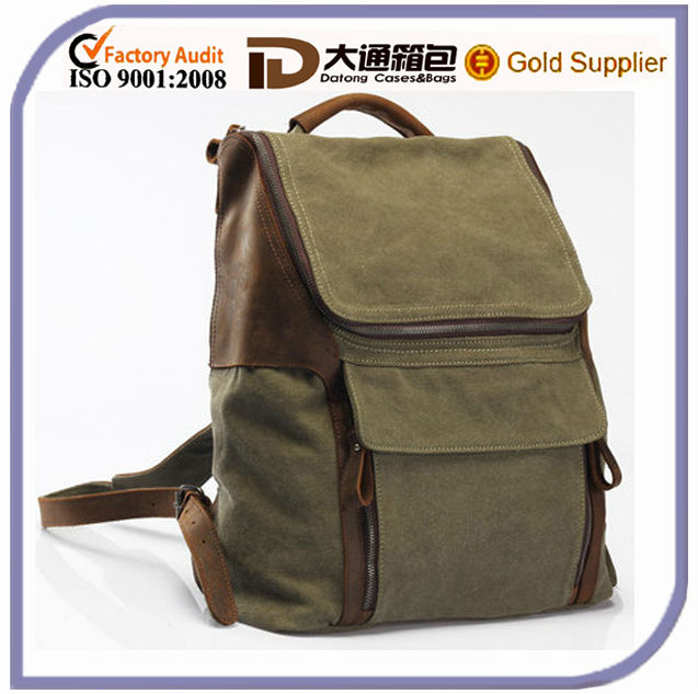 Army green Leather-canvas backpack /Leather Shoulder Stitch bag