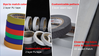 2-LAYR COLORED PU SEAM SEALING TAPE(SEAM TAPE)FOR OUTDOOR GARMENTS. WATER PROOF SHOES AND TENTS