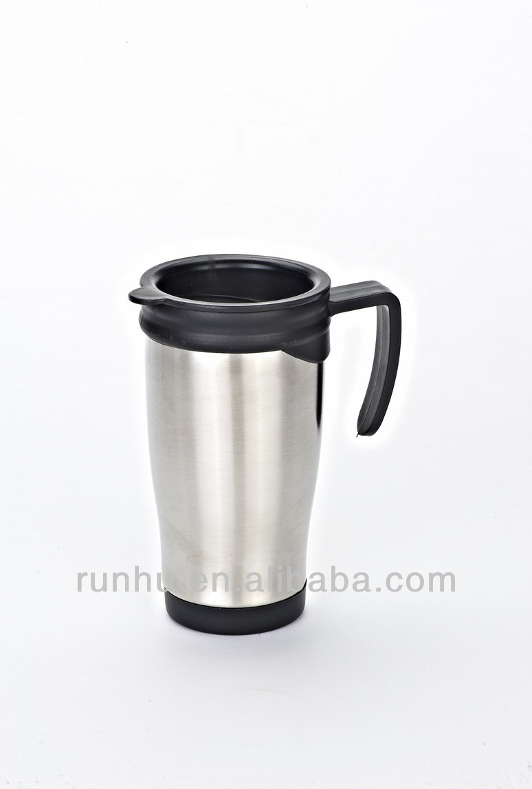 14oz carabiner stainless steel plastic soup mug promotional mug travel mug with handle RH215-14