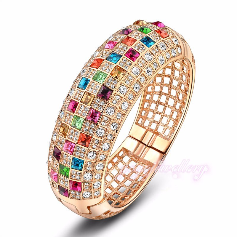18k gold saudi arabia crystal metal beautiful bangle jewelry