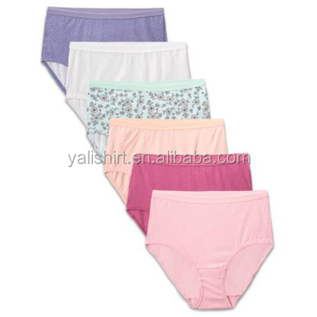 Hot sale natural fabric mid waist casual panties 100 cotton underwear women