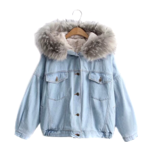 New Fashion Short Style Customized Women Winter Coat With Denim Jacket