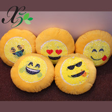 Wholesale Most Popular Reversible Yellow Emoji Design Sequin Fabric Changing Color Throw Pillow