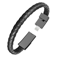 Free Shipping Outdoor Portable Data Sync Charging Cable Cord PU Leather Bracelet Micro USB Charger For iPhone6 6s Android Type-C