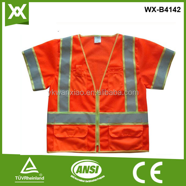 Factory made polyester mesh class2 two tone tape high visibility fluo orange vest