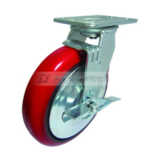 8 inch heavy duty brake casters with pu