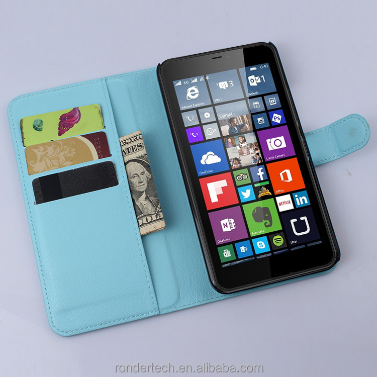 Hot Selling Plain Texture Flip Leather Case For Nokia lumia 640 XL With Many Colors