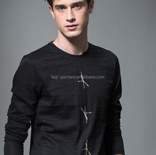 High quality flax embroidered round neck blank T-shirt man's